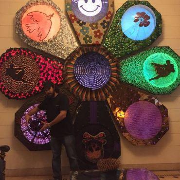 Havana artist explaining his magnificent work